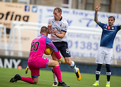 Raith Rovers keeper David McGurn saves from Falkirk's David McMillan. Raith Rovers 2 v 2 Falkirk, Scottish Football League Division One played 5/9/2019 at Stark's Park, Kirkcaldy.
