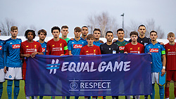 KIRKBY, ENGLAND - Wednesday, November 27, 2019: Liverpool and Napoli players stand together for an UEFA Equal Game photograph before the UEFA Youth League Group E match between Liverpool FC Under-19's and SSC Napoli Under-19's at the Liverpool Academy. (Pic by David Rawcliffe/Propaganda)