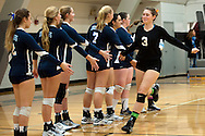 Vale senior Kelsey Weber is introduced before the start of the 2015 OSAA 3A Volleyball State Championship, Round 1, Vale - St. Mary's at  Vale High School, Vale, Oregon. October 31, 2015.<br /> <br /> Vale defeated St. Mary's of Medford in three games 25-10,  25-8, 25-13, improving their season record to 24-2.