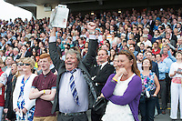 30/07/2014 Noel Meade owned horse Road to Riches Trained by  Eddie O&rsquo;Leary with Jockey Shane Shortall on board had this punter celebrating in the stands at the Galway Races big race the Galway Plate .<br />  .Photo:Andrew Downes