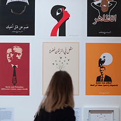 "© Licensed to London News Pictures. 27/03/2018. LONDON, UK. Syrian political posters, by Alshaab Alsori Aref Tarekh (The Syrian People Know Their Way), 2011.  Preview of ""Hope to Nope: Graphics and Politics 2008-18"", an exhibition examining the political graphic design of a turbulent decade encompassing the 2008 financial crash, Barack Obam presidency, Brexit and Donald Trump's presidency.  The exhibition takes place at the Design Museum 28 March to 12 August 2018.  Photo credit: Stephen Chung/LNP"