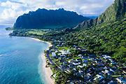 Aerial photograph of Kaa'awa, Kualoa Valley in background, Windward Oahu, Hawaii