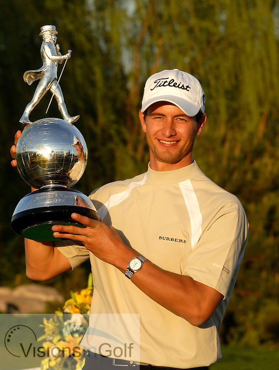 24 April 2005. Johnnie Walker Classic, Pine Valley Golf Club, Beijing, China. Adam Scott with JWC trophy.<br /> Mandatory credit: Richard Castka/Visions In Golf