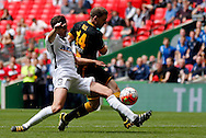 Shaun Bell (r) of Morpeth Town AFC scoring to make it 1-4 during the FA Vase Final at Wembley Stadium, London<br /> Picture by Simon Moore/Focus Images Ltd 07807 671782<br /> 22/05/2016
