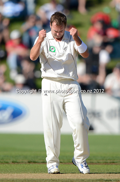 Mark Gillespie celebrates his 6th wicket. Test match cricket. Third Test, Day 3. New Zealand Black Caps versus South Africa Proteas, Basin Reserve, Wellington, New Zealand. Sunday 25 March 2012. Photo: Andrew Cornaga/Photosport.co.nz