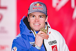 11.02.2019, Aare, SWE, FIS Weltmeisterschaften Ski Alpin, alpine Kombination, Herren, Siegerehrung, im Bild Weltmeister und Goldmedaillengewinner Alexis Pinturault (FRA) // during the winner ceremony of the men's alpine combination for the FIS Ski World Championships 2019. Aare, Sweden on 2019/02/11. EXPA Pictures © 2019, PhotoCredit: EXPA/ Dominik Angerer