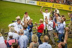 Team Belgium  <br /> Kurt Gravemeier, Olivier Philippaerts, Pieter Devos, Hymne Rydant<br /> Winners of the Mercedes-benz Nationenpreis<br /> Weltfest des Pferdesports CHIO Aachen 2014<br /> © Hippo Foto - Dirk Caremans