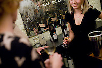 2 December, 2008. New York, NY. Stephanie Mannat, assistant manager at the Tinto Fino wine shop, is here with other member of the staff during the sherry tasting. The Tinto Fino spanish wine shop organizes a sherry tasting. Sherry is a fortified wine made from white grapes that are grown near the town of Jerez, Spain. In Spanish, it is called Vino de Jerez.<br /> <br /> ©2008 Gianni Cipriano for The New York Times<br /> cell. +1 646 465 2168 (USA)<br /> cell. +1 328 567 7923 (Italy)<br /> gianni@giannicipriano.com<br /> www.giannicipriano.com