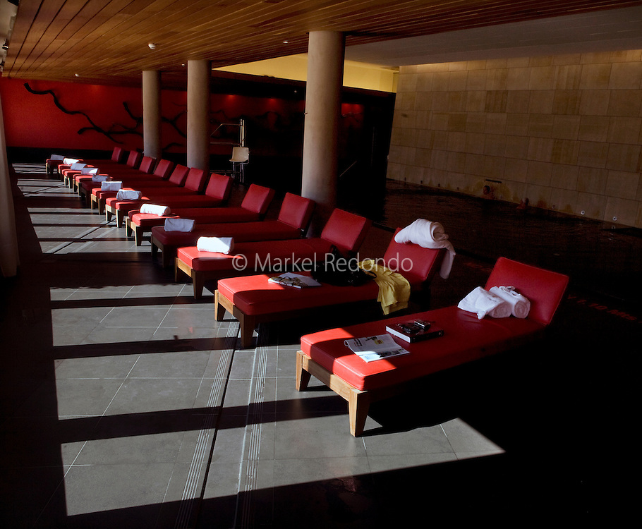 An interior of The Hotel Marques de Riscal Hotel, designed by architect Frank Gehry, part of Starwood's Luxury Collection, in Elciego,   Spain, Oct. 10, 2008. Photographer: Markel Rendondo/Fedephoto.