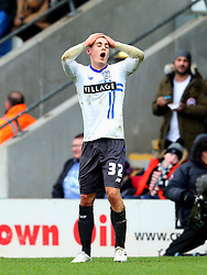 Danny Rose of Bury reacts after receiving a yellow card - Mandatory byline: Matt McNulty/JMP - 06/12/2015 - Football - Spotland Stadium - Rochdale, England - Rochdale v Bury - FA Cup