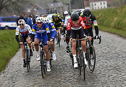 March 23, 2018 - Harelbeke, BELGIUM - Belgian Philippe Gilbert of Quick-Step Floors, Belgian Tiesj Benoot of Lotto Soudal and Belgian Greg Van Avermaet of BMC Racing Team pictured in action during the 61st edition of the 'E3 Prijs Vlaanderen Harelbeke' cycling race, 206,5 km from and to Harelbeke, Friday 23 March 2018. BELGA PHOTO POOL VINCENT KALUT (Credit Image: © Pool Vincent Kalut/Belga via ZUMA Press)