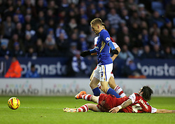 Middlesbrough's Rhys Williams brings down Leicester City's Jamie Vardy for the penalty - Photo mandatory by-line: Matt Bunn/JMP - Tel: Mobile: 07966 386802 25/01/2014 - SPORT - FOOTBALL - King Power Stadium - Leicester - Leicester City v Middlesbrough - Sky Bet Championship
