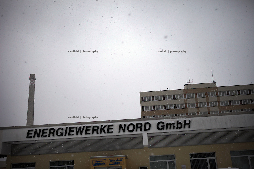 """Atomares Zwischenlager Nord - Lubmin und ehemaliges DDR-Atomkraftwerl Lubmin. Property of former GDR nuclear power plant near Lubmin and the storage hall for radioactive waste, called """"Zwischenlager Nord""""."""