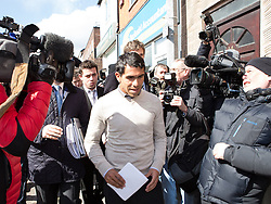 © Licensed to London News Pictures . 03/04/2013 . Macclesfield , UK . Manchester City footballer , CARLOS TEVEZ , leaves Macclesfield Magistrates Court today (3rd April) after being sentenced to 250 hours of community service , a six-month driving ban and a £1000 fine . He was charged with breaching a previous driving ban after being arrested on 8th March 2013 on the A538 in Macclesfield . Photo credit : Joel Goodman/LNP
