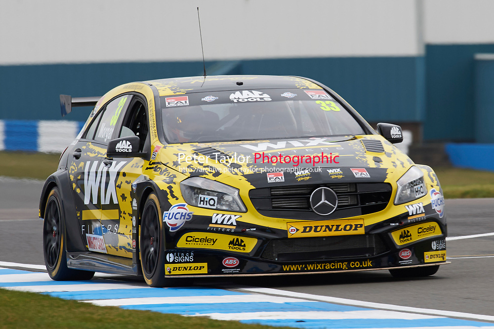 #33 Adam Morgan GBR WIX Racing Mercedes Benz A-Class during Media Day Test Session as part of the BTCC Media Day at Donington Park, Melbourne, Leicestershire, United Kingdom. March 22 2016. World Copyright Peter Taylor/PSP. Copy of publication required for printed pictures.  Every used picture is fee-liable.