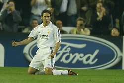 MADRID, SPAIN - Tuesday, April 8, 2003: Real Madrid's Raul celebrates his second goal and Madrid's third against Manchester United during the UEFA Champions League Quarter Final 1st Leg match at the Estadio Santiago Bernabeu. (Pic by David Rawcliffe/Propaganda)