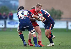 Will Hurrell of Bristol Rugby is tackled - Mandatory by-line: Robbie Stephenson/JMP - 13/01/2018 - RUGBY - Castle Park - Doncaster, England - Doncaster Knights v Bristol Rugby - B&I Cup