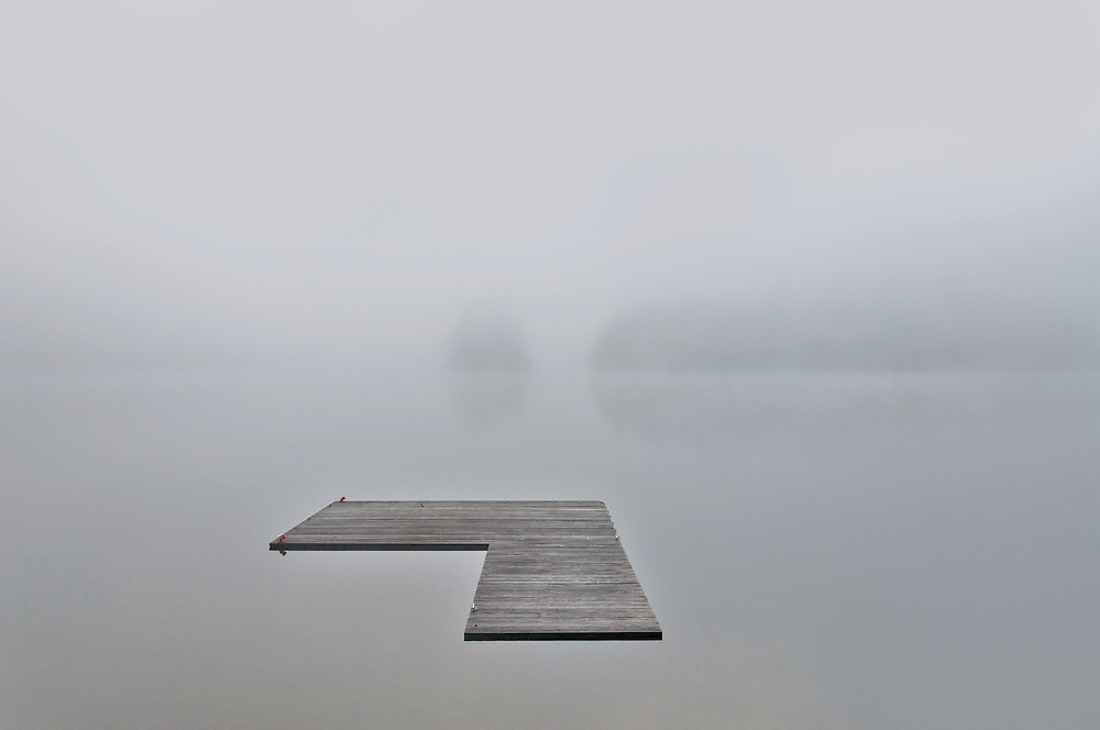 A heavy fog makes a surreal moment on Lake Cavanaugh, Washington.
