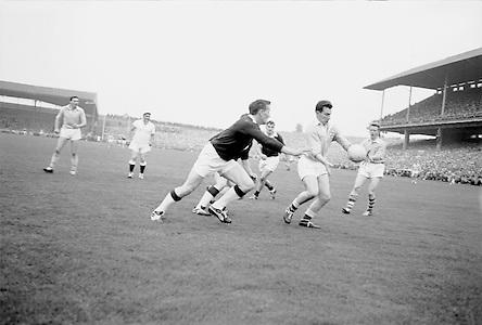 All Ireland Senior Football Final, 22nd September, 1963.Dublin V Galway.Dublin Forward M. Whelan about to kick towards Galway Goal ..22.09.1963  22nd September 1963Dublin.1-9.Galway.0-10..P. Flynn, L. Hickey, L. Foley, W. Casey, D. McKane, P. Holden, M. Kissane, D. Foley (Captain), John Timmons, B. McDonald, Mickie Whelan, G. Davey, S. Behan, D. Ferguson, N. Fox..Sub: P. Downey for P. Holden..D. Foley (Captain).