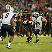 03 September 2016: The San Diego State Aztecs football team open's up the season at home against the University of New Hampshire Wildcats. San Diego State running back Donnel Humphrey (19) rushes the ball in the fourth quarter against New Hampshire. The Aztecs beat the Wildcats 31-0. www.sdsuaztecphotos.com
