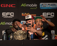 JOHANNESBURG, SOUTH AFRICA - MAY 13: (L-R) Yannick Bahati, Tomasz Kowalkowski and Joe Cummins  during EFC 49 Fight Night at the Big Top Arena, Carnival City, Johannesburg, South Africa on May 13, 2016. (Photo by Anton Geyser/ EFC Worldwide)