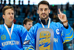 Martin St. Pierre of Kazakhstan and Brandon Bochenski of Kazakhstan at ceremony after ice hockey match between Kazakhstan and Hungary at IIHF World Championship DIV. I Group A Kazakhstan 2019, on May 5, 2019 in Barys Arena, Nur-Sultan, Kazakhstan. Photo by Matic Klansek Velej / Sportida