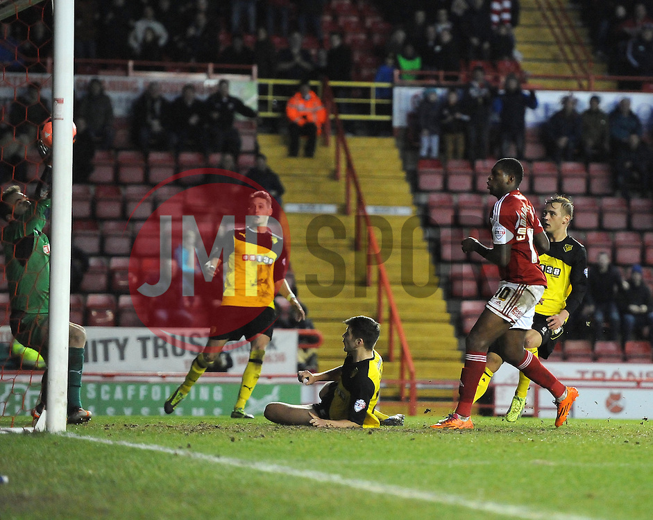 Bristol City's Jay Emmanuel-Thomas scores to bring the game level and send it to a replay - Photo mandatory by-line: Joe Meredith/JMP - Tel: Mobile: 07966 386802 04/01/2014 - SPORT - FOOTBALL - Ashton Gate - Bristol - Bristol City v Watford - FA Cup - Third Round