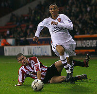 Photo: Steve Bond.<br /> Sheffield United v Arsenal. Carling Cup. 31/10/2007. Keiran Gibbs leaves a Blades defender in his wake