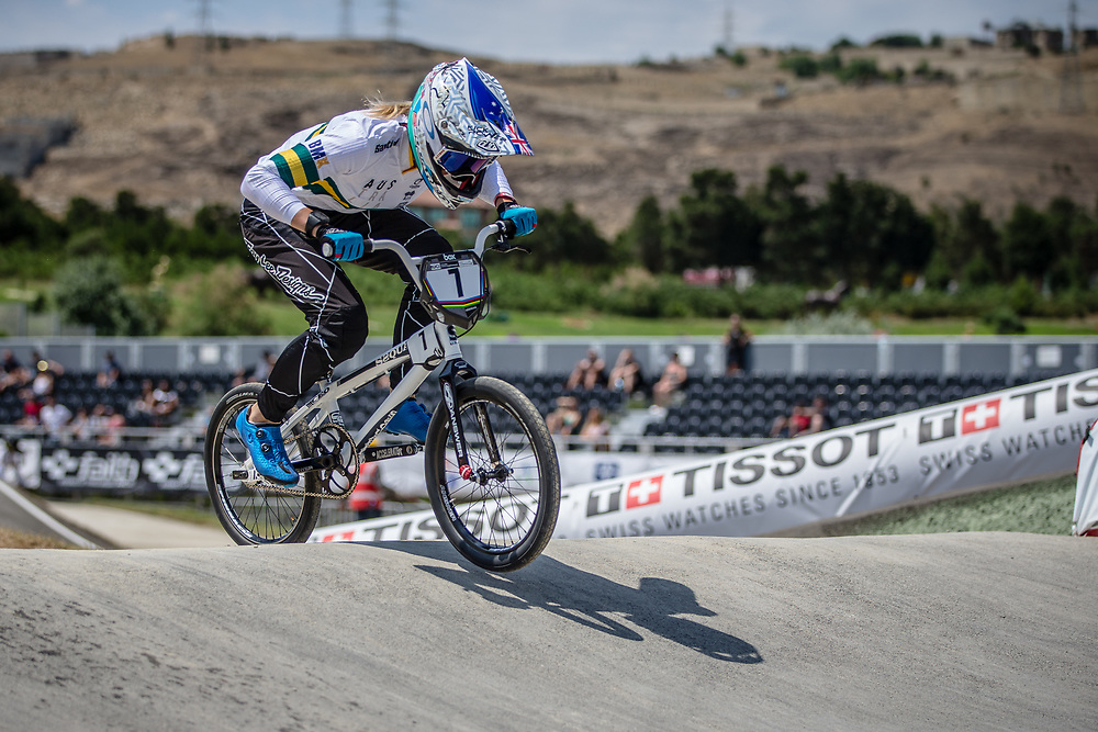 Women Elite #7 (REYNOLDS Lauren) AUS at the 2018 UCI BMX World Championships in Baku, Azerbaijan.