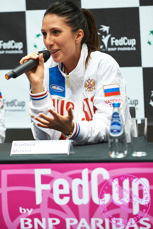 Trainer coach Anastasia Myskina from Russia while press conference during Second Day of the Fed Cup / World Group 1st round tennis match between Poland and Russia at Tauron Krakow Arena on February 8, 2015 in Cracow, Poland.<br /> <br /> Poland, Cracow, February 8, 2015<br /> <br /> Picture also available in RAW (NEF) or TIFF format on special request.<br /> <br /> For editorial use only. Any commercial or promotional use requires permission.<br /> <br /> Adam Nurkiewicz declares that he has no rights to the image of people at the photographs of his authorship.<br /> <br /> Mandatory credit:<br /> Photo by &copy; Adam Nurkiewicz / Mediasport