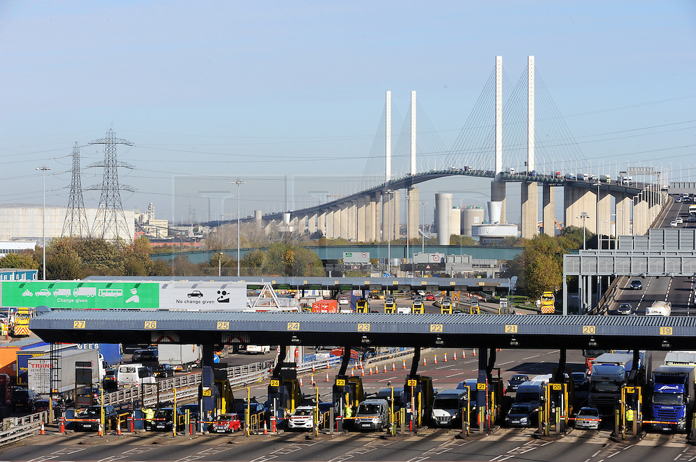 """© Licensed to London News Pictures. 06/11/2014. Heavy traffic at the Dartford Tolls today, 06.11.2014, The toll booths are set to be removed at the Dartford Crossing at the end of this month. From Sunday 30 November 2014 you will no longer pay for the Dartford Crossing at the barriers. An electronic service named """"Dart Charge"""" will be introduced. This should help reduce congestion at the crossing (Byline:Grant Falvey/LNP)"""