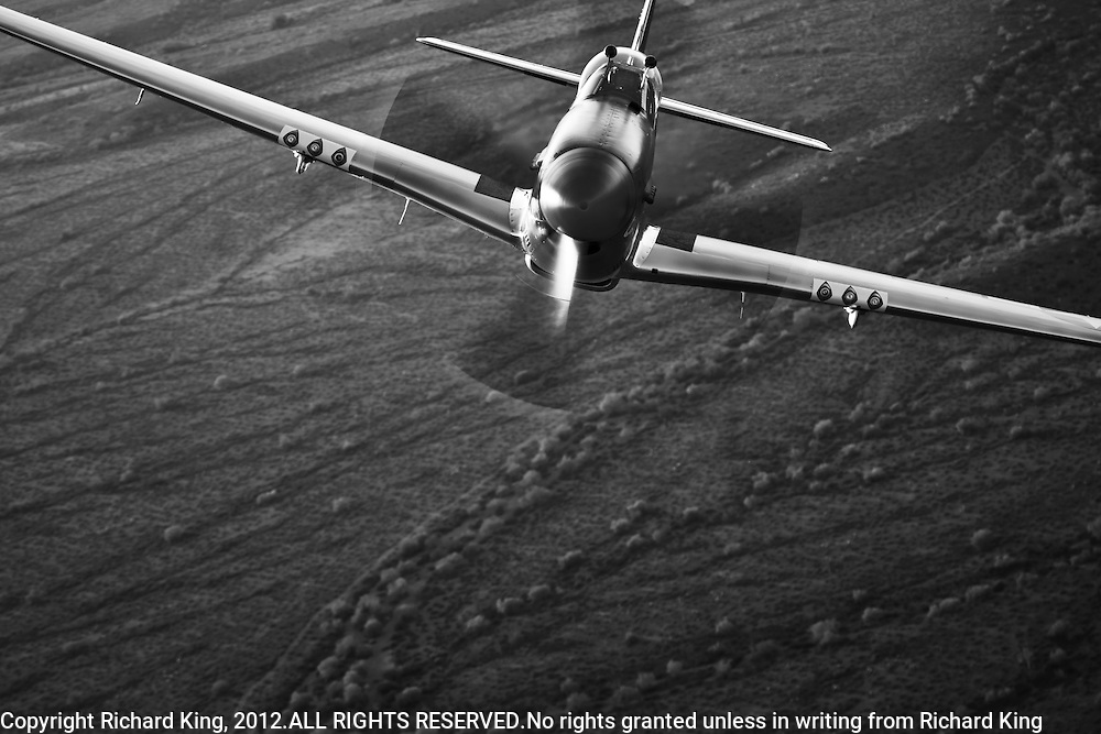 "Spectacular black and white photographic image of a P-51 Mustang ""Cripes A' Mighty"" taken air to air over the Arizona desert"