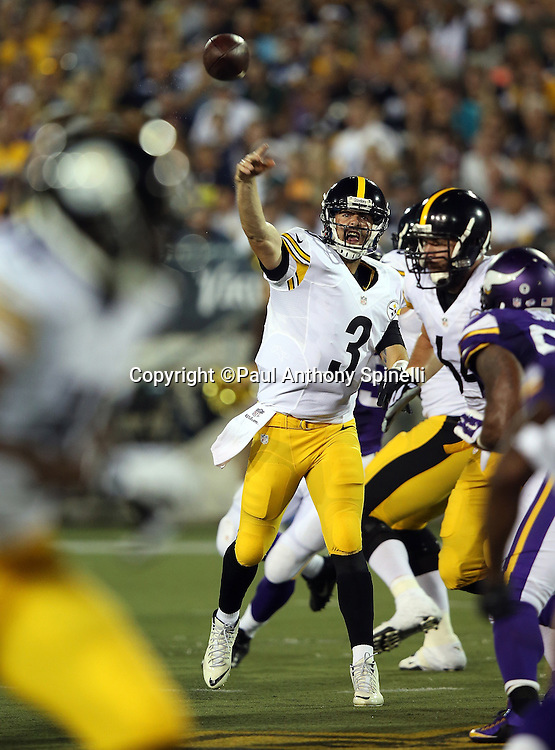 Pittsburgh Steelers quarterback Landry Jones (3) throws a deep pass during the 2015 NFL Pro Football Hall of Fame preseason football game against the Minnesota Vikings on Sunday, Aug. 9, 2015 in Canton, Ohio. The Vikings won the game 14-3. (©Paul Anthony Spinelli)