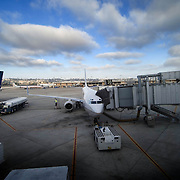 San Diego Airport view of jet airliners at gate.