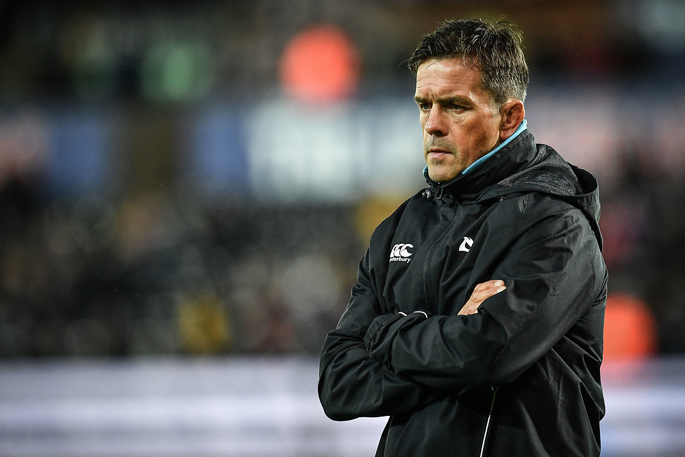 Head Coach Allen Clarke of Ospreys during the pre match warm up<br /> <br /> Photographer Craig Thomas/Replay Images<br /> <br /> Guinness PRO14 Round 4 - Ospreys v Benetton Treviso - Saturday 22nd September 2018 - Liberty Stadium - Swansea<br /> <br /> World Copyright © Replay Images . All rights reserved. info@replayimages.co.uk - http://replayimages.co.uk