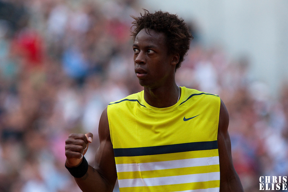 1 June 2009: Gael Monfils of France celebrates during the Men's Single Fourth Round match on day nine of the French Open at Roland Garros in Paris, France.
