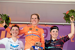 Top three on the stage Ellen van Dijk (NED), Lisa Brennauer (GER) and Lisa Klein (GER) at Lotto Thüringen Ladies Tour 2019 - Stage 5, a 17.9 km individual time trial in Meiningen, Germany on June 1, 2019. Photo by Sean Robinson/velofocus.com