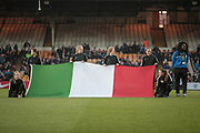 The Italian flag on the pitch before the Women's International Friendly match between England Ladies and Italy Women at Vale Park, Burslem, England on 7 April 2017. Photo by Mark P Doherty.