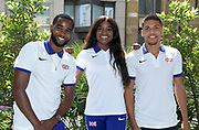 Delano Williams (left), Naomi Ogbeta (center) and Elliot Giles (GBR) pose prior to the Athletics World Cup, Friday, July 13, 2018, in London, United Kingdom.