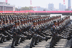 April 15, 2017 - Pyongyang - Soldiers attend a military parade in central Pyongyang. The Democratic People's Republic of Korea (DPRK) Saturday showcased its military muscles by parading all of its most-advanced ballistic and tactic missiles, including a submarine-launched ballistic missile which could strike targets 1000 km away.  (Credit Image: © Cheng Dayu/Xinhua via ZUMA Wire)