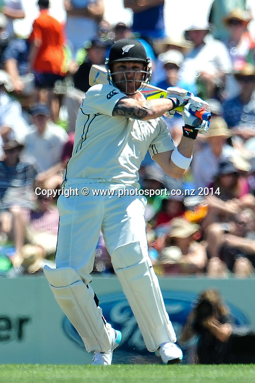 Brendon McCullum of the Black Caps in the 1st day of the cricket test match, NZ v Sri Lanka, Hagley Oval, 26 December 2014. Photo:John Davidson/www.photosport.co.nz