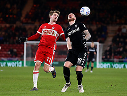 Patrick Bamford of Middlesbrough challenges Pontus Jansson of Leeds United - Mandatory by-line: Robbie Stephenson/JMP - 02/03/2018 - FOOTBALL - Riverside Stadium - Middlesbrough, England - Middlesbrough v Leeds United - Sky Bet Championship