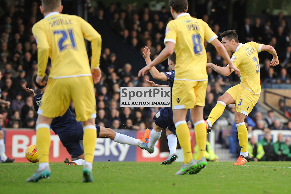 Millwalls Joe Martin opens the scoring to put Millwall 1-0 up during the Southend v Millwall game in the Sky Bet League 1 on the 28th December 2015.