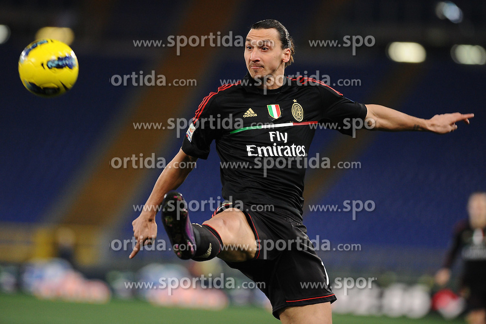 01.02.2012, Olympiastadion, Rom, ITA, Serie A, Lazio Rom vs AC Milan, 21. Spieltag, im Bild Zlatan Ibrahimovic Milan // during the football match of Italian 'Serie A' league, 21th round, between Lazio Rom and AC Milan at Olympic Stadium, Rome, Italy on 2012/02/01. EXPA Pictures © 2012, PhotoCredit: EXPA/ Insidefoto/ Antonietta Baldassarre..***** ATTENTION - for AUT, SLO, CRO, SRB, SUI and SWE only *****