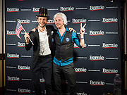 """31 DECEMBER 2019 - DES MOINES, IOWA: Bernie Sanders supporters, one dressed as Sen. Sanders, the other as a """"Wall Street Fat Cat"""" during Sen. Bernie Sanders' """"Big New Year's Bash,"""" a combination campaign rally/New Years Eve Party at the Marriott Hotel Downtown in Des Moines. Sen. Sanders is in Iowa campaigning to be the Democratic presidential nominee in 2020. Iowa hosts the first selection event of the presidential election cycle. The Iowa Caucuses are Feb. 3, 2020.PHOTO BY JACK KURTZ"""