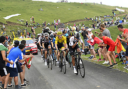 July 25, 2018 - Saint Lary Soulan, France - SAINT-LARY-SOULAN COL DU PORTET, FRANCE - JULY 25 : DUMOULIN Tom (NED) of Team Sunweb, KRUIJSWIJK Steven (NED) of Team Lotto NL - Jumbo, ROGLIC Primoz (SLO) of Team Lotto NL - Jumbo  THOMAS Geraint (GBR) of Team SKY during stage 17 of the 105th edition of the 2018 Tour de France cycling race, a stage of 65 kms between Bagneres-de-Luchon and Saint-Lary-Soulan Col Du Portet on July 25, 2018 in Saint-Lary-Soulan Col Du Portet, France, 25/07/2018 (Credit Image: © Panoramic via ZUMA Press)