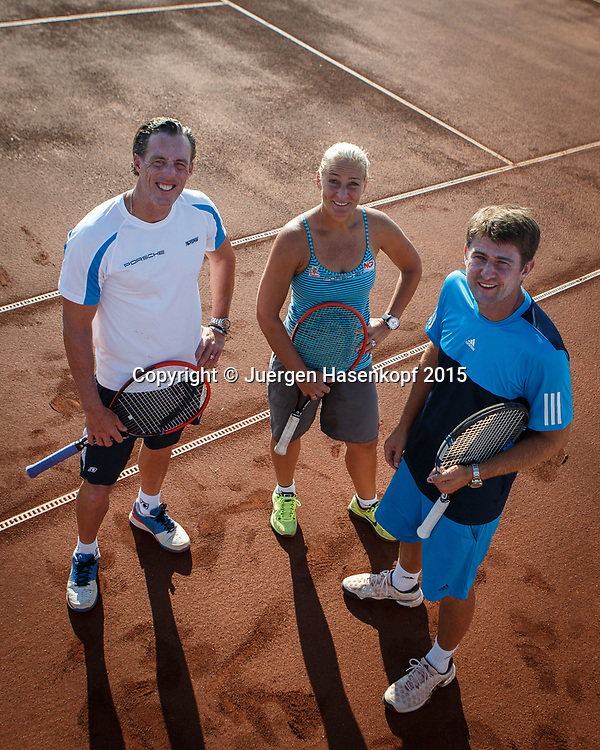 R-L. DTB Trainer  Michael Kohlmann, Barbara Rittner und  Dirk Dier  im Ali Bey Resort, Side,Tuerkei.<br /> <br /> travel -  -  -  Ali Bey Resort Side - Side - Antalya - Tuerkei  - 1 October 2015. <br /> &copy; Juergen Hasenkopf