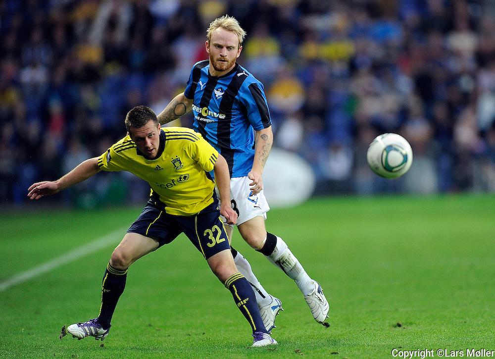 DK Caption:<br /> 20110911, Br&oslash;ndby, Danmark:<br /> Superliga fodbold, Br&oslash;ndby - HB K&oslash;ge:<br /> Brent McGrath, BIF Br&oslash;ndby., Lasse Kronborg, HB K&oslash;ge.<br /> Foto: Lars M&oslash;ller<br /> <br /> UK Caption:<br /> 20110911, Brondby, Denmark:<br /> Superleague football  Brondby - HB K&oslash;ge:<br /> Brent McGrath, BIF Br&oslash;ndby., Lasse Kronborg, HB K&oslash;ge.<br /> Photo: Lars Moeller