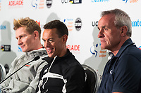 2017 World Champion, , Andre Greipel (Lotto Soudal,Richie Porte (BMC Racing Team)<br /> - Santos Tour Down Under Race Director Mike Turtur at Media Conference for the Tour Down Under, Australia on the 13 of January 2018 ( Credit Image: &copy; Gary Francis / ZUMA WIRE SERVICE )