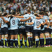 The Waratahs in a huddle after the Super14 match between the Waratahs and the Chiefs at the Sydney Football Stadium in Sydney, Australia on February 20, 2009. The Waratahs won the match 11-7. Photo Tim Clayton